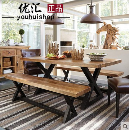 A gifted loft wood desk minimalist dining table solid wood dining tables and chairs combination cafe restaurant retro industrial wind