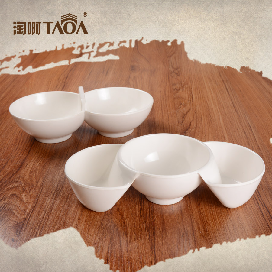 A5 melamine melamine bowl melamine fondue dipping bowl bowl bowl double bowl dog bowls dish creative dishes it is true White