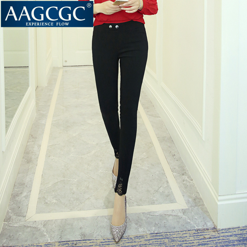 Aagcgc end custom bow elastic waist was thin outer wear trousers slim leggings 0007 new women