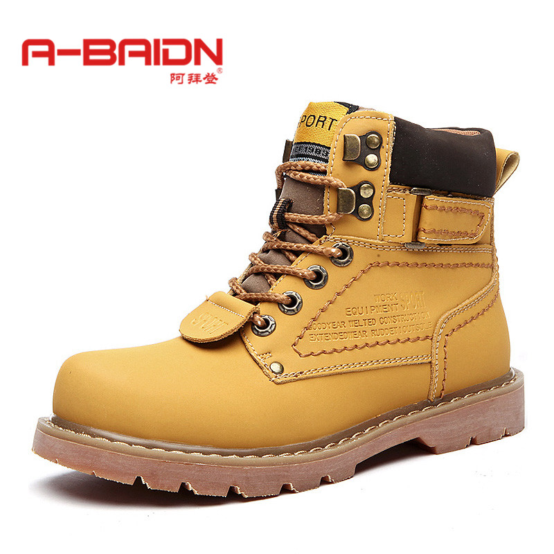Abaidn/o biden autumn and winter boots martin boots england men's boots tooling boots big round head boots high shoes 1