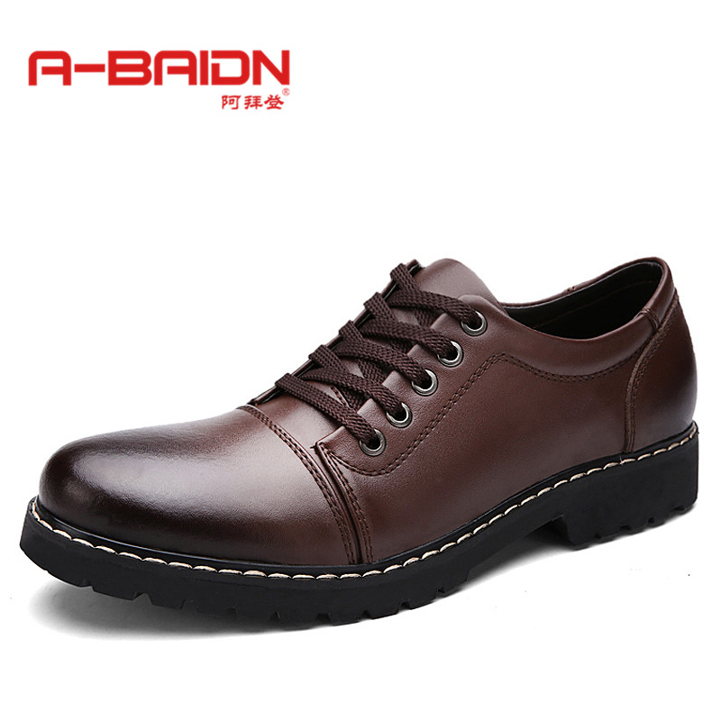 Abaidn/o biden new casual men round lace shoes business casual shoes british style autumn 108