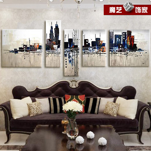 Abstract architectural painting pure combination frameless painting decorative painting the living room painted impression of the city style three-dimensional relief