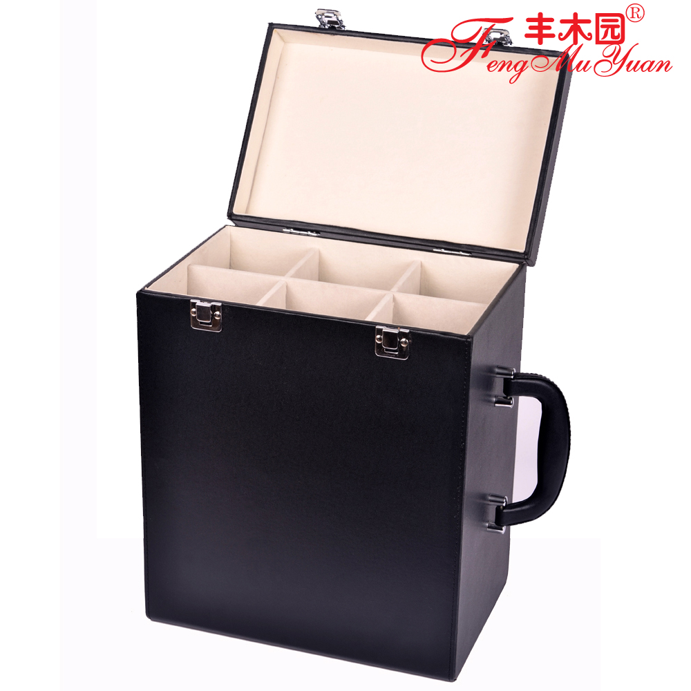 Abundance of wood park 6 lafite wine gift wine bottled black high speed upscale leather box wine gift packaging boxes