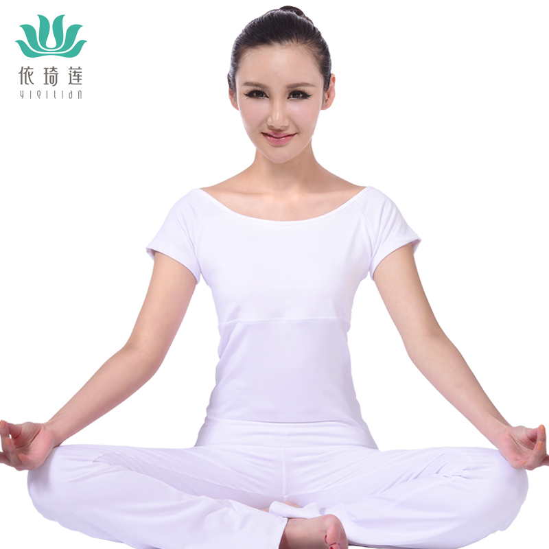 According to qi lin workout clothes new spring and summer white yoga clothes yoga clothes suit female short sleeve yoga clothes dance clothes and fashionable