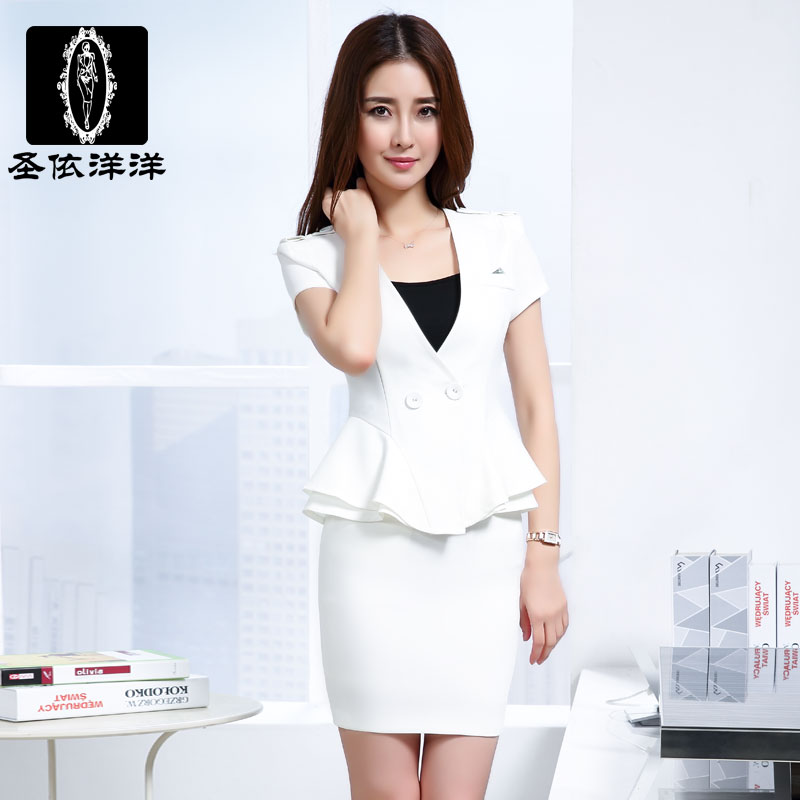 According to st. lengthy interview women wear summer slim short sleeve skirt suit ol women wear work clothes