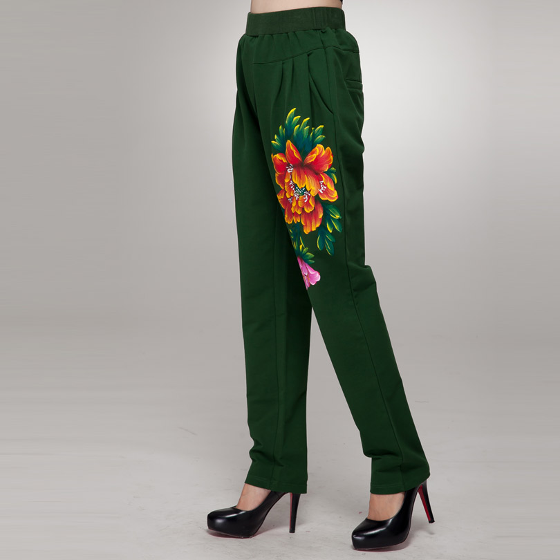 According to xiao tong micro harem pants waist fat mm fertilizer to increase size women 2015 winter new painted peony flower