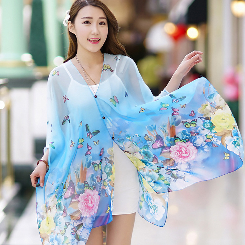 According to xin honey edge printing oversized scarf sunscreen shawl long section of wild 2016 spring and summer chiffon scarf shawl