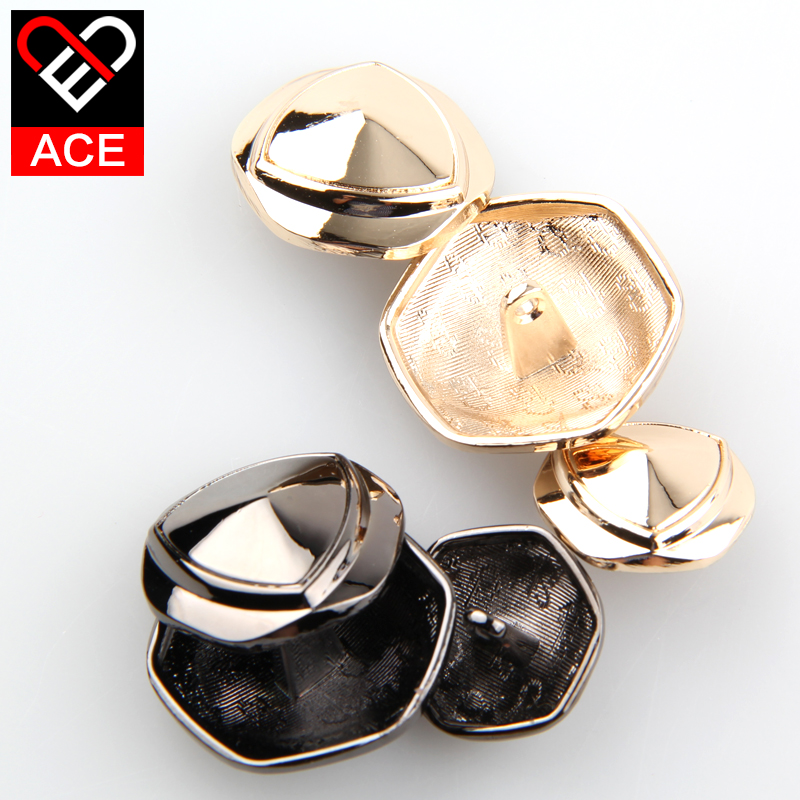 Ace button exquisite hexagon metal buckle female fashion casual shirt buttons buttoned