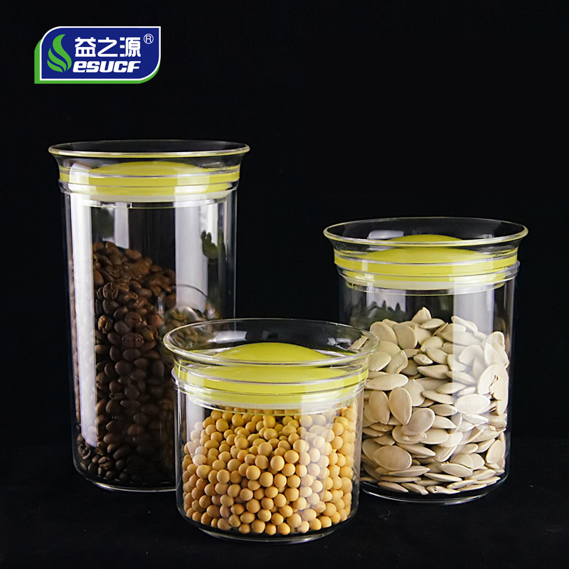 Acrylic storage bottles sealed cans of food grains tea beneficial source of milk candy jar moisture storage tank 3 sets