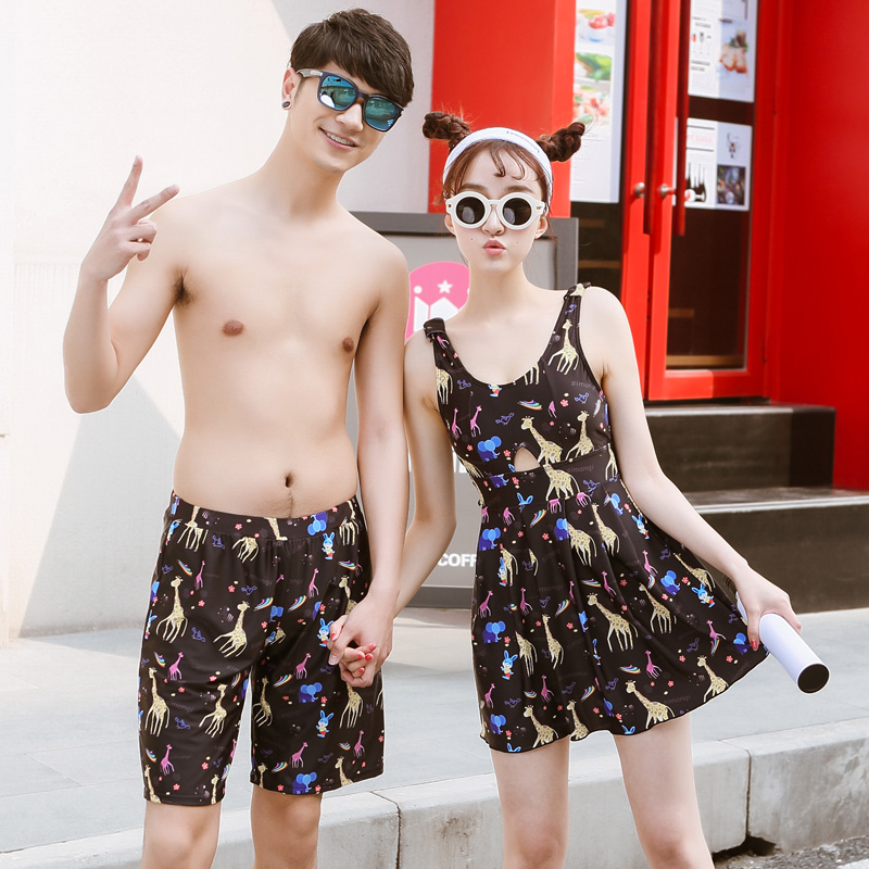 Adams man qi swimsuit female south korean style slim siamese boxer skirt was thin cover belly swim swimsuit female swimsuit couple