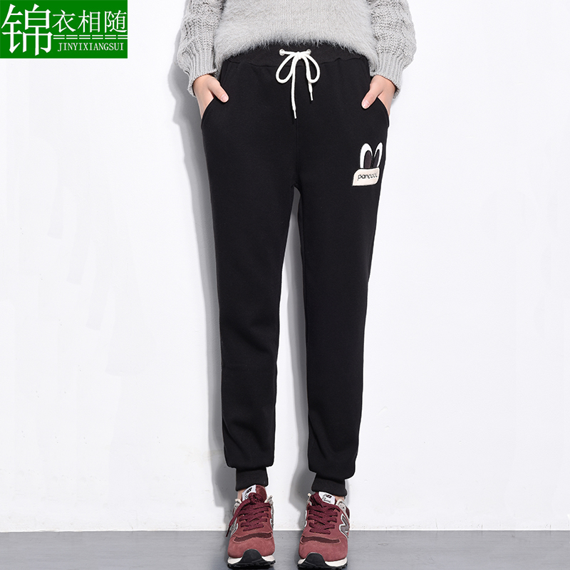 Adolescent girls fall and winter clothes plus thick velvet elastic waist slacks student wei pants casual sports pants feet