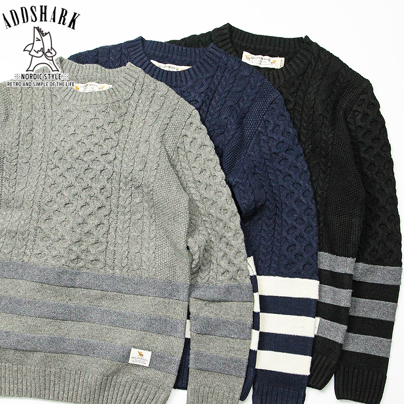 Adsk tide brand harajuku 2016 new autumn and winter nbhd striped men's casual hedging round neck sweater tricolor