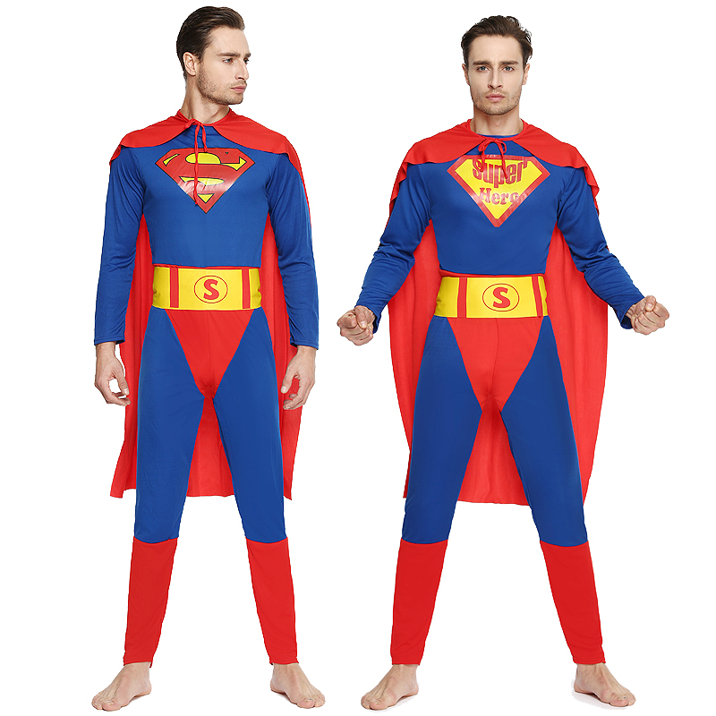 Adult halloween costume superman superhero superman costume dance performances cos cosplay costume men set