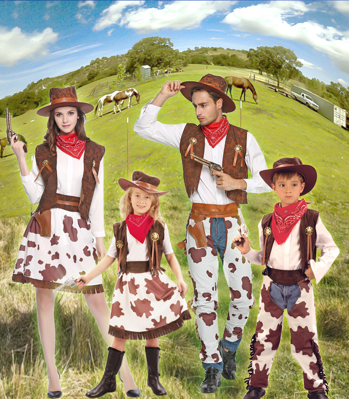 Adult halloween costumes cowboy boys and girls children's jeans kiss child performers clothes cosplay