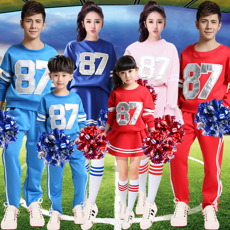 Adults children football baby cheerleaders cheerleading performance clothing costumes suit the student groups of men and women