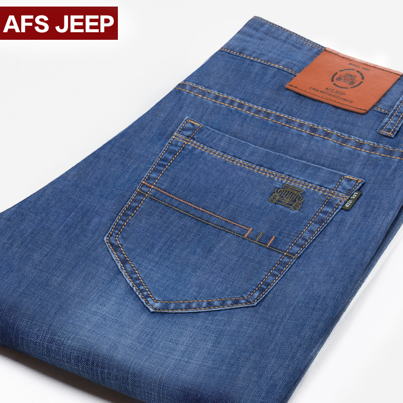 Afs jeep battlefield jeep jeans men straight thin section loose big yards summer casual pants tide male long pants