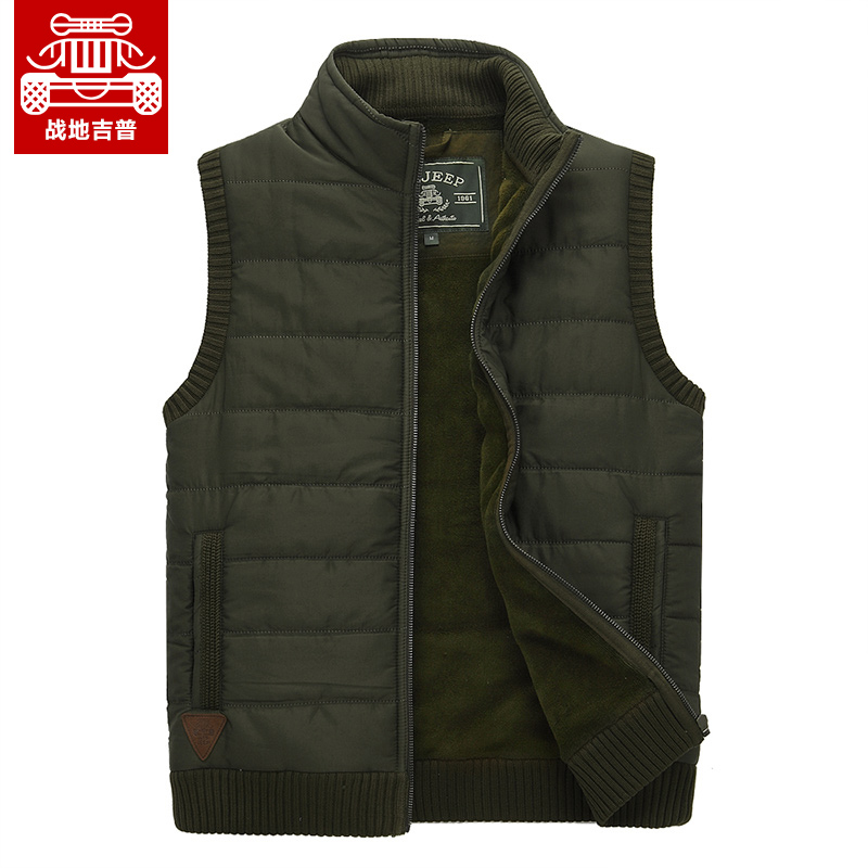 Afs jeep/battlefield jeep military men vest vest vest 2015 new fall loose collar pull chain