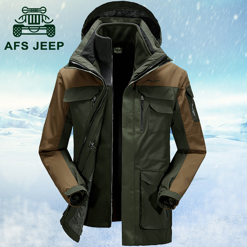 7fc4d74a082 Get Quotations · Afs jeep jeep jackets men s triple waterproof windproof  outdoor travel piece fall and winter jackets for