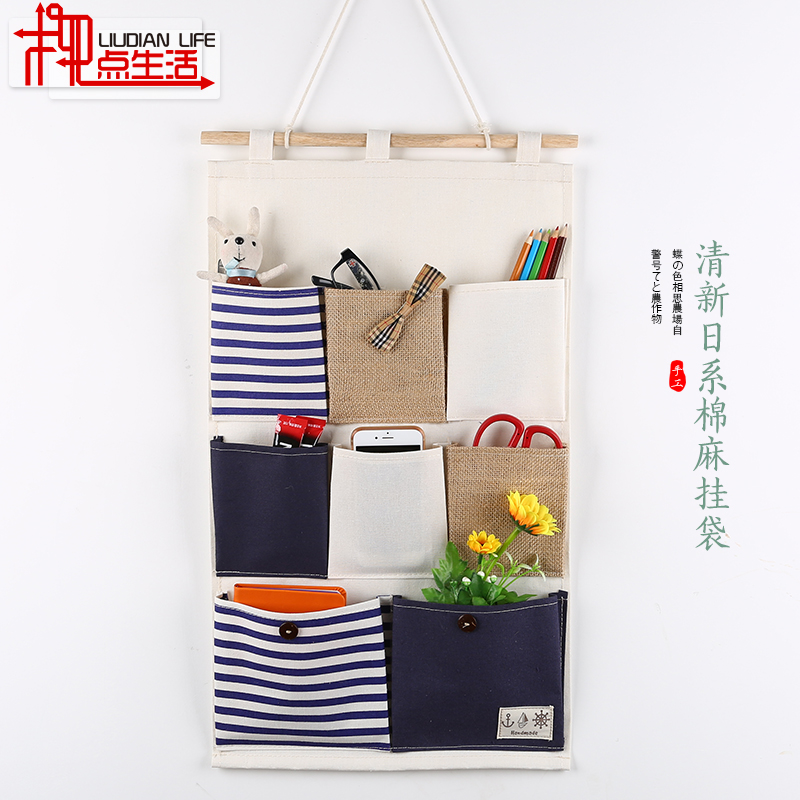 After the door wall hanging pouch bag wall hanging pouch pocket hanging storage zakka cotton cloth storage bag