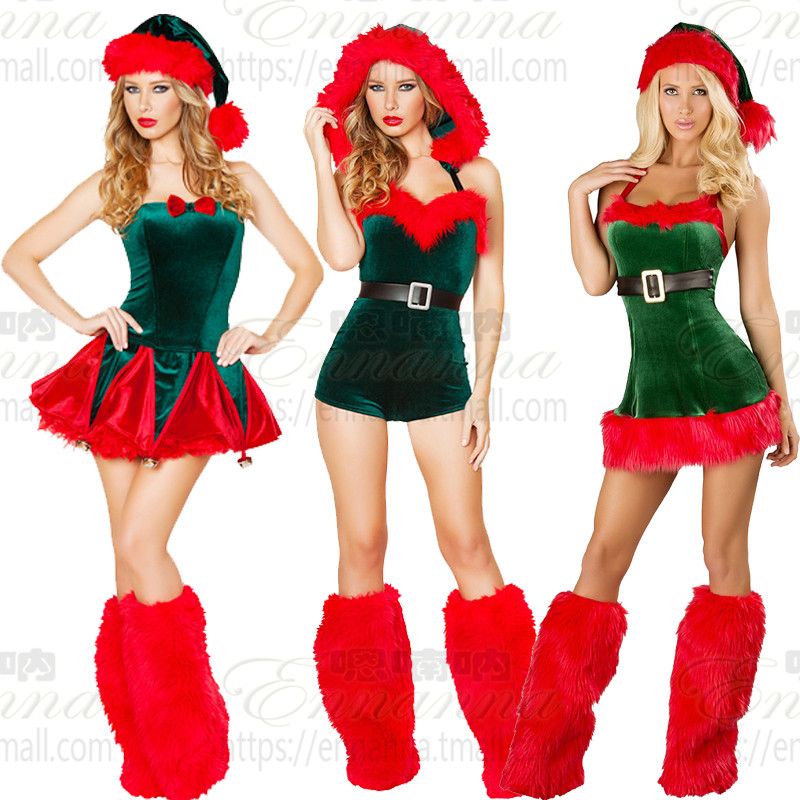 Ah nan na red green christmas christmas holiday party costume adult siamese uniforms ds costumes sexy costumes