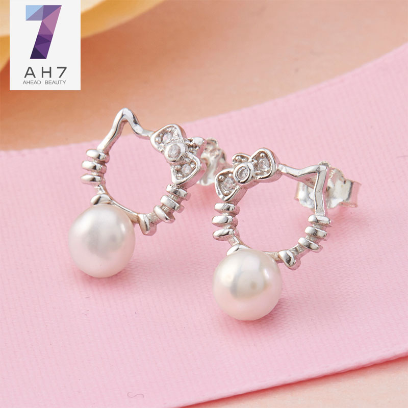 AH7S925 silver hello kitty cat ha myself kt cat gift female models temperament earrings girls earrings japan and south korea