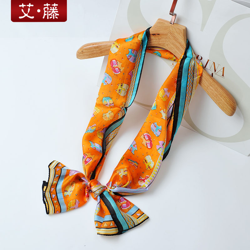 Ai goto narrow korean version of the long silk scarf multi scarf scarf small scarf scarf scarf female spring and autumn wild career