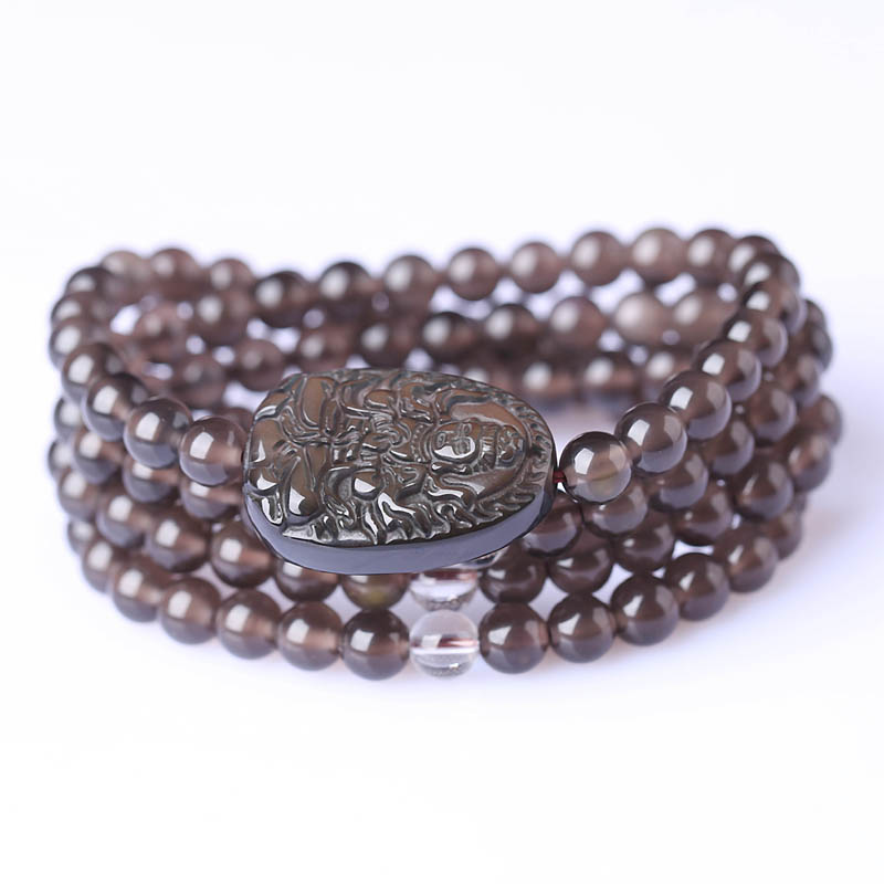 Ai yu natural ice kinds of obsidian big day tathagata buddha natal zodiac sheep monkey buddha patron saint bracelet 108 prayer beads
