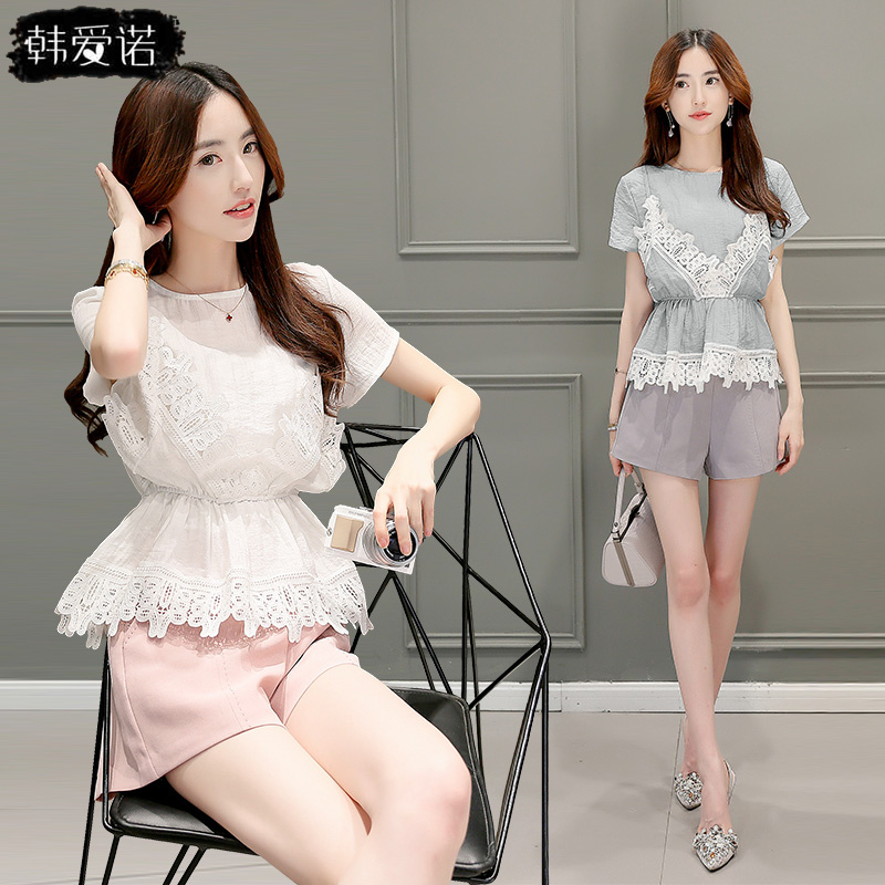 Aino korean waist round neck short sleeve women suit 2016 summer new lace openwork lace shorts piece