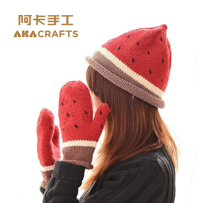 Aka handmade knitting knitting baby paternity korea cotton wool hat gloves video tutorial diy material package