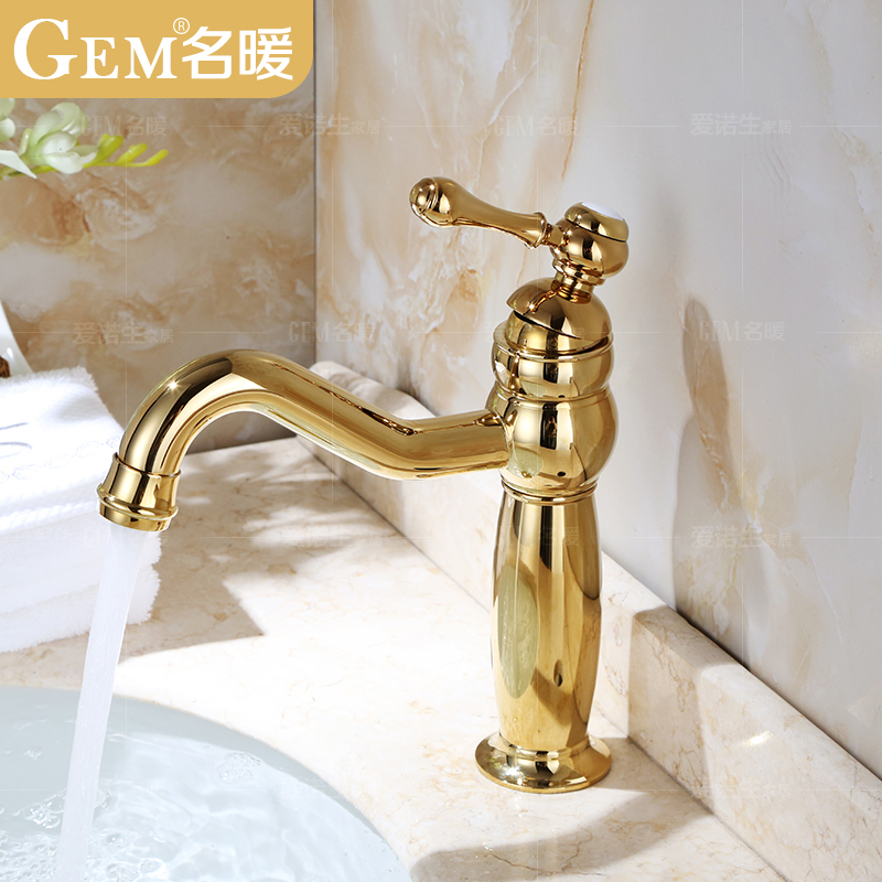 All copper basin full of hot and cold european golden faucet big bend long spout single hole basin counter basin heightening rotating outlet