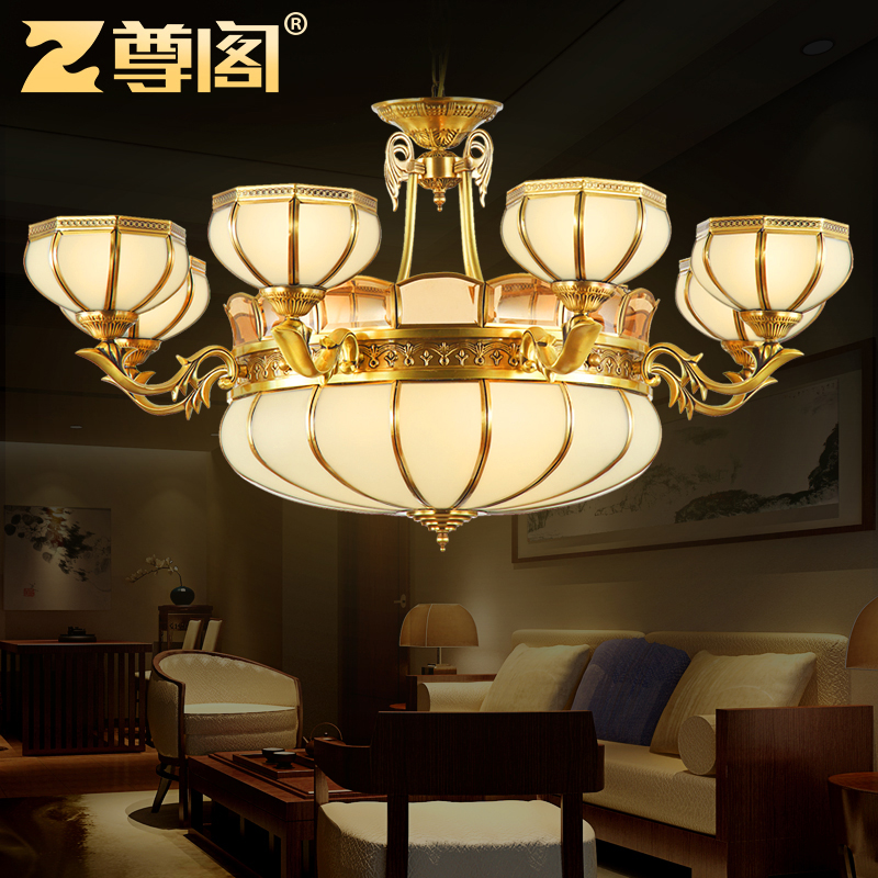 All copper chandelier american living room bedroom restaurant ceiling lamp 343 continental hotel villa engineering lamps american copper lamps
