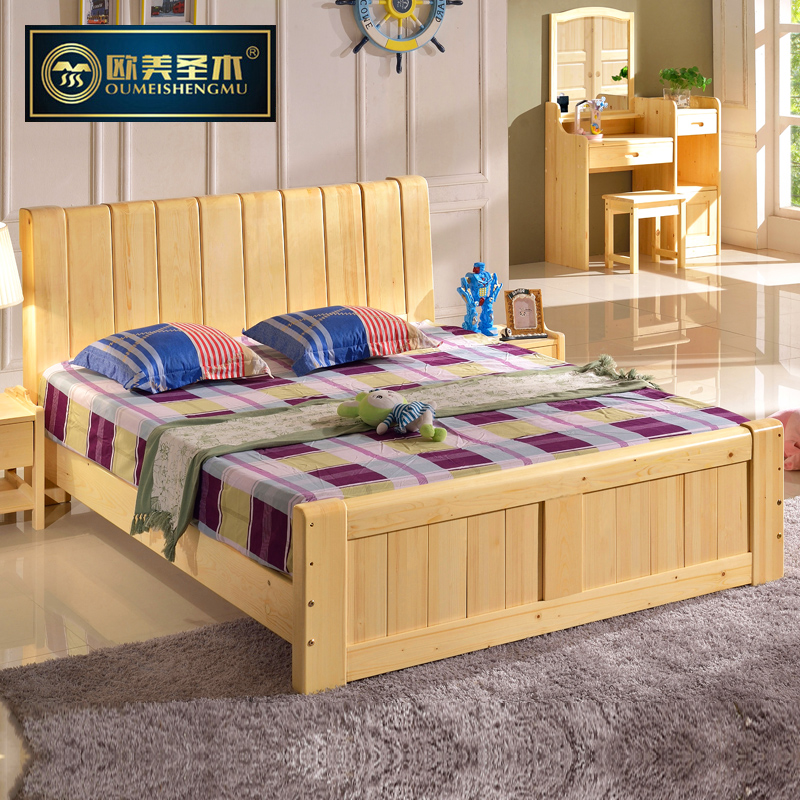 All solid wood bed 1.5 m 1.8 european and american holy wood nordic pure pine double bed with storage drawers green furniture