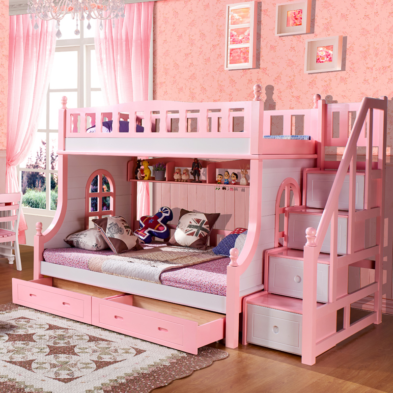All solid wood bed bunk bed children's bed girl students up and down the bed wood bunk bed bunk bed mother and child bed