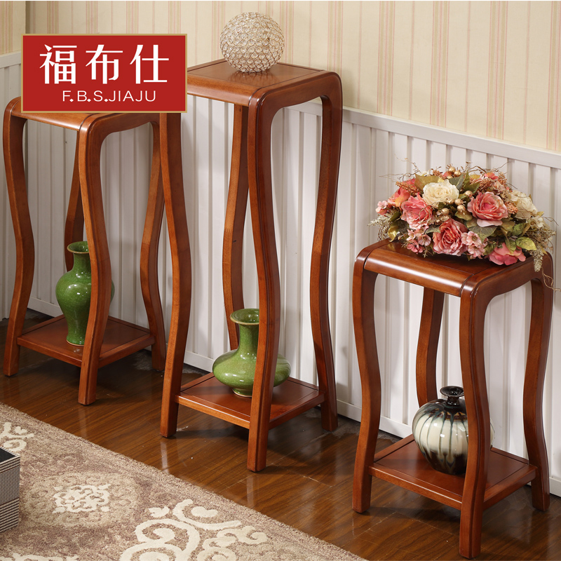 All solid wood furniture chinese fu bushi double racks to spend a few wooden flower pots frame floor