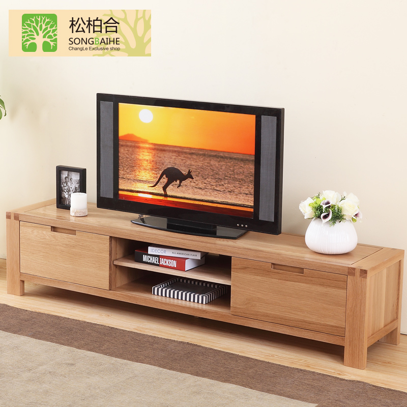All solid wood oak tv cabinet tv cabinet modern minimalist small apartment living room furniture tv cabinet to cabinet aigui