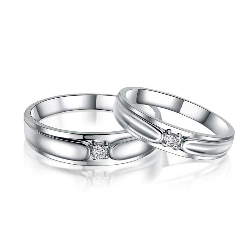 Am jewelry couple rings platinum diamond wedding rings for men and women couple diamond ring can be engraved wedding ring counter