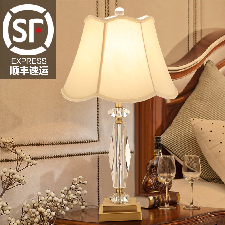 American country crystal table lamp modern minimalist bedroom cozy living room study decorative lamp bedside lamp wedding