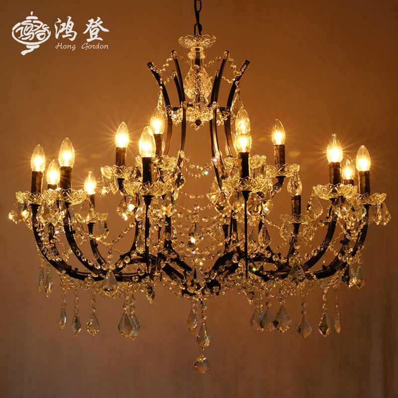 American country pastoral retro antique wrought iron chandelier crystal chandelier creative personality restaurant bar lamp in the lobby living room