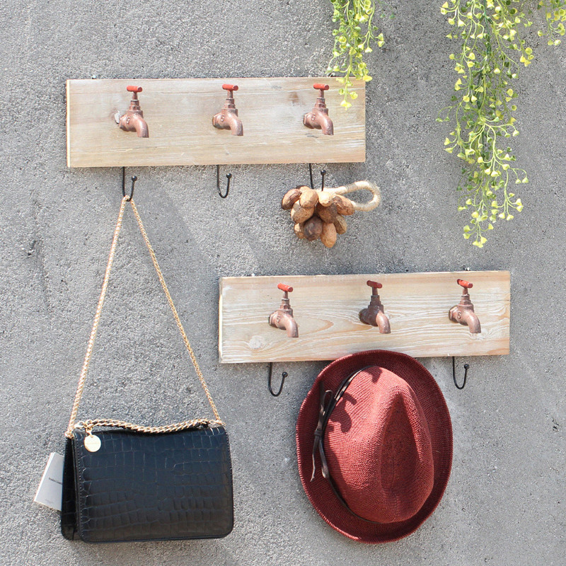 American country wood faucet creative retro clothing store shop home decorative wall hooks coat hook pendant