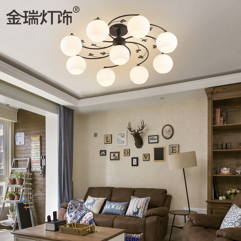 American country wrought iron pastoral minimalist living room ceiling lamp bedroom ceiling light study lamp restaurant led ceiling
