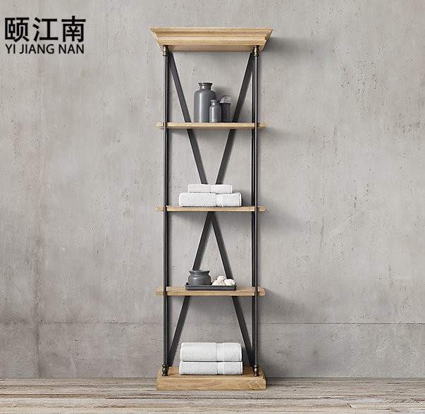 American industrial loft style retro living room shelf display shelf wood bookcase display shelf bookcase shelf bookcase