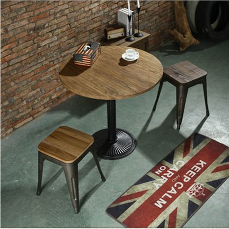 Get Quotations · American Iron Wood Elm Wood Coffee Table Round Table  Restaurant Table Coffee Table Small Round Table