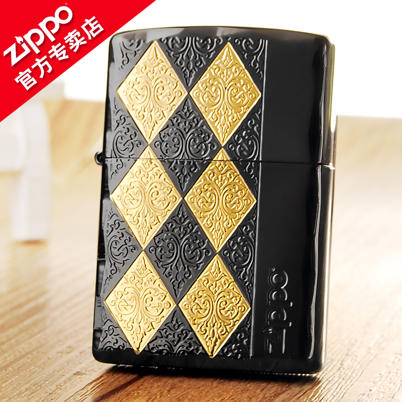 American original genuine zippo lighter black gold classic quilted genuine treasure lighter windproof lighter men