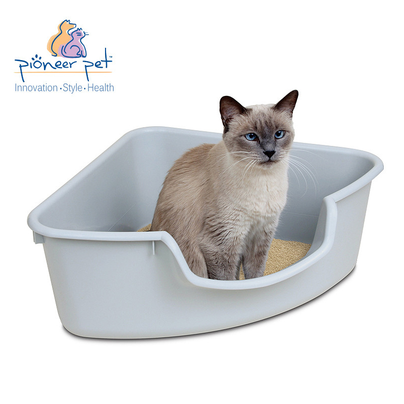 American pioneer pet/smartcat open triangle cat litter box cat toilet corner wear and plastic