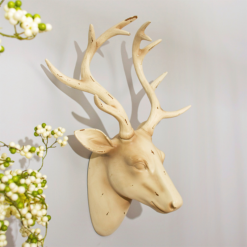 American retro â 44 centimeters D0204 elk head oversized resin background wall hanging wall decoration