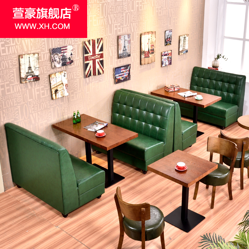 American retro cafe restaurant tea shop dessert cafe deck sofa theme restaurant dining tables and chairs combination