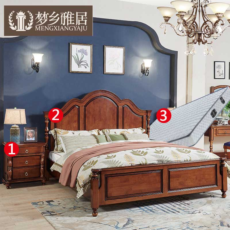 American solid wood double bed continental bedroom furniture small apartment bedroom combination of three sets of suits