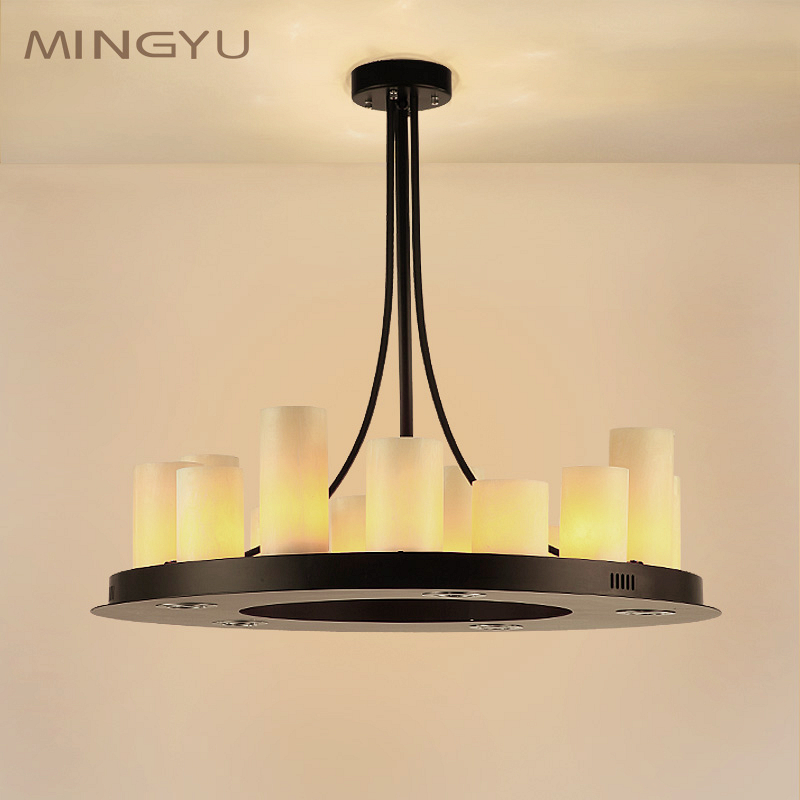 China round iron chandelier china round iron chandelier shopping get quotations american village restaurant chandelier creative personality of modern minimalist marble rectangle round shaped wrought iron candle aloadofball Image collections
