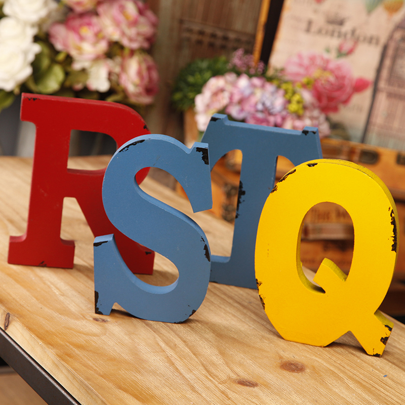 American vintage wooden letters living room soft furnishings decoration creative bar cafe desktop furnishings shooting props