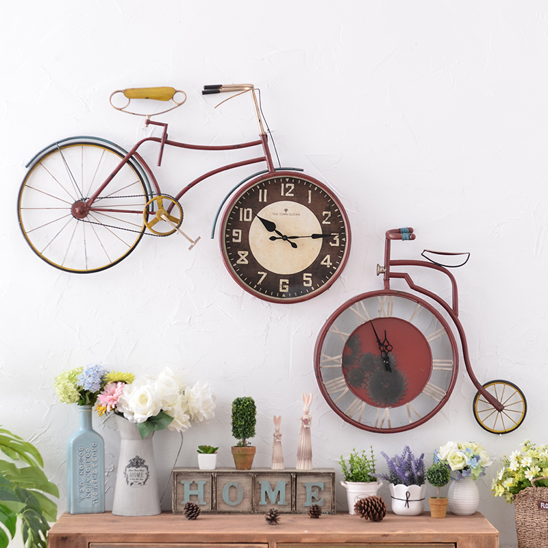 American vintage wrought iron bicycle table living room bedroom wall clock wall clock creative home decorations wall hangings wall hangings